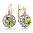 Золотые серьги с хризолитами «Прекрасная царевна»