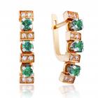 Сережки зі смарагдами і діамантами «Три супутники»