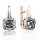 Золоті сережки з смарагдами і діамантами