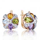 Золотые серьги с цветными камнями