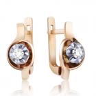 Золоті сережки з діамантом «Космічні спалахи»