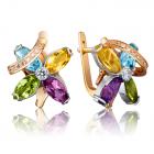 Золотые серьги с самоцветами «Илана»