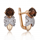 Золотые серьги с раухтопазом и цирконием «Luxury»