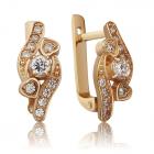 Золотые серьги с цирконием в сердечках «Valentine»