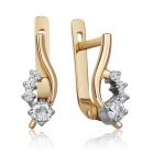 Золотые серьги с цирконием «Антея»