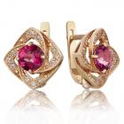Золоті сережки з рожевими топазами