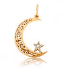 Золотой кулон «Звезда и месяц»