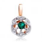 Золотой кулон с зеленым турмалином в обрамлении бриллиантов