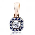 Золотий кулон з сапфірами і діамантом «Королівська розкіш»