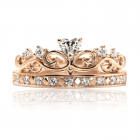 Золоте кільце з куб.цирконієм «Корона - Серце»