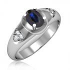 Золоте кільце з сапфіром і діамантами «Beauty»