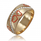 Золотое обручальное кольцо с сердечками «Любовь в сердце»