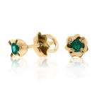 Золотые серьги-гвоздики с изумрудами «Миа»
