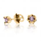 Золотые серьги-гвоздики с аметистами «Миа»