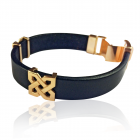 Золотой браслет с кожаным ремешком «Celebrity»