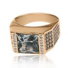Золотое кольцо с горным хрусталем и бриллиантами «Franco»
