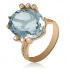 Золотое кольцо с голубым аметистом «Лесное озеро»