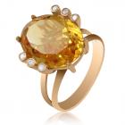"""Золотое кольцо с цитрином """"Скарабей"""""""
