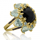 Золоте кільце з чорним раухтопазом «Найпрекраснішій»