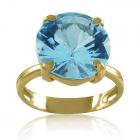 """Золотое кольцо с голубым топазом """"Небесные грани"""""""
