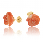 Золоті сережки «Коралова троянда»