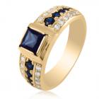 Золотой перстень с квадратным синим сапфиром