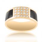 Золотое мужское кольцо с бриллиантами и кожей