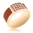 Золотое кольцо с аметистами на мизинец