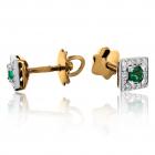 """Золотые серьги с изумрудами и бриллиантами """"Pret-a-porte"""""""