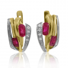 Золотые серьги с рубинами «Маргарита»