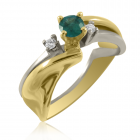 Золотое кольцо с изумрудом и бриллиантами  «Моей невесте»