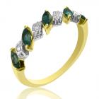 Золоте кільце-віночок зі смарагдами і діамантами