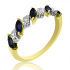 """Золотое кольцо с сапфирами и бриллиантами """"Сапфировый веночек"""""""