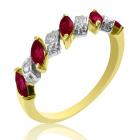 """Золотое кольцо с рубином и бриллиантами """"Рубиновый веночек"""""""