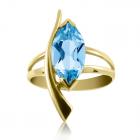 Золотое кольцо с топазом «Стрела Амура»