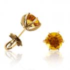 Золотые пусеты с цитринами «VIVA»