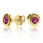 Золотые пусеты с родолитами «Сладкая ягода»