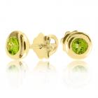 Золотые пусеты с хризолитами «Сладкая ягода»