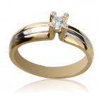 Золотий перстень з діамантом 0,1 ct «Пропозиція»