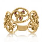 Золоте кільце з рубінами «Унікальна»