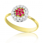 Золотое кольцо с рубином и бриллиантами «Космея»