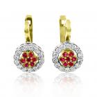 Золотые серьги с рубином и бриллиантами «Космея»