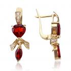 Золотые серьги с гранатом «Сердце-магнит»