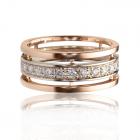 Широка золота обручка з діамантами «Ідеал»