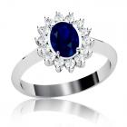 Золоте кільце з сапфіром і діамантами «Кетрін»