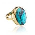 Золотое кольцо с бирюзой «Лавика - Бирюза»