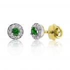 Золотые пусеты с изумрудами и бриллиантами «Гиза»