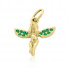 Золотая подвеска с изумрудами «Ангел счастья»