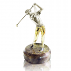 """Серебряная статуэтка с позолотой """"Гольфист"""""""