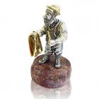 """Серебряная статуэтка с позолотой """"Еврей-портной"""""""